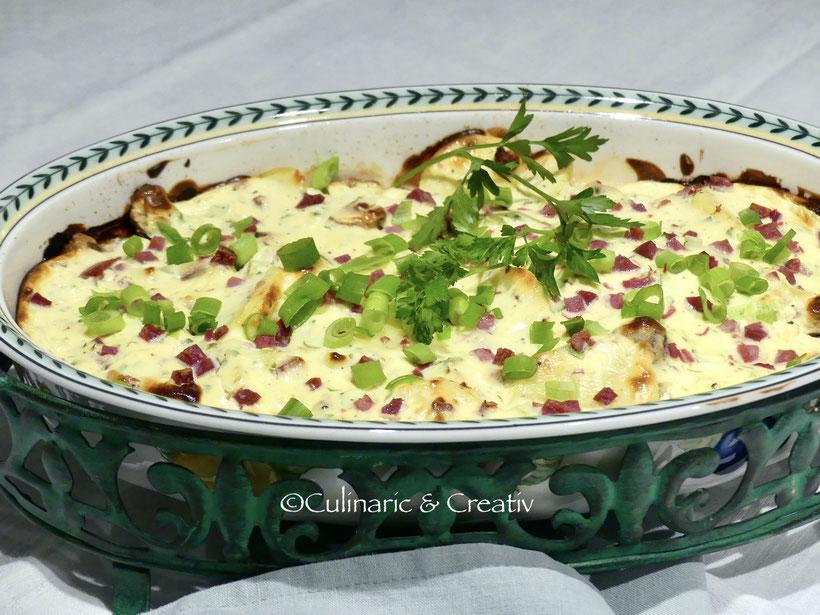 Topfenkartoffeln mit Champignon und Schinken