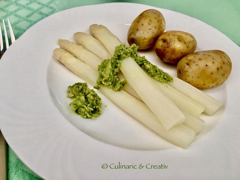 Spargel mit Avocado-Bärlauch-Pesto
