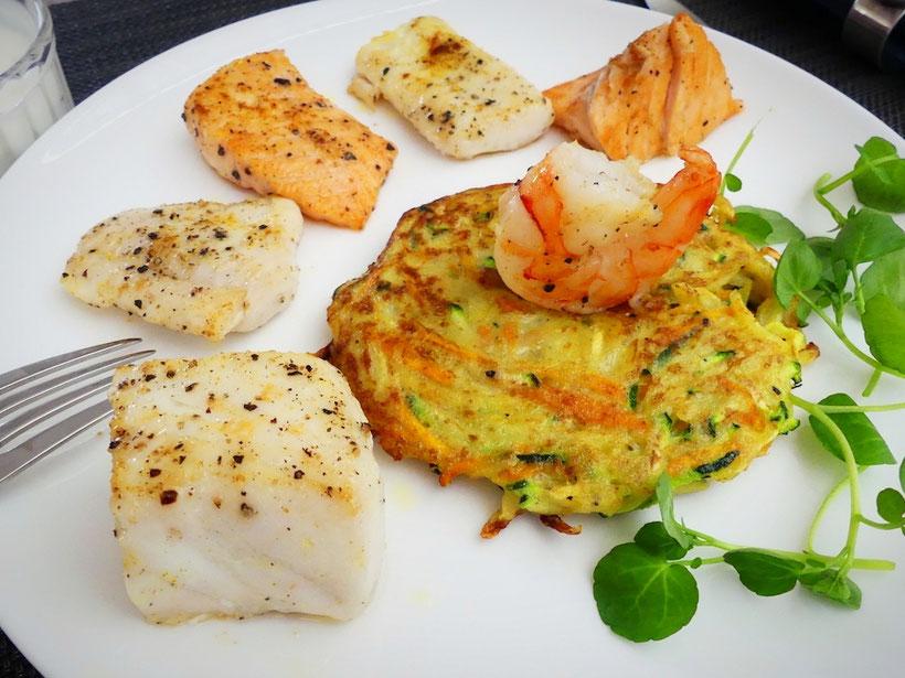 Edelfisch-Pfanne mit Gemüserösti