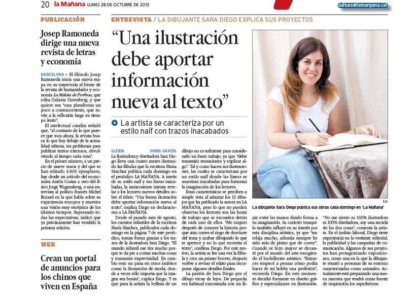 """Entrevista periódico """"La Mañana"""" 27 de octubre 2013"""