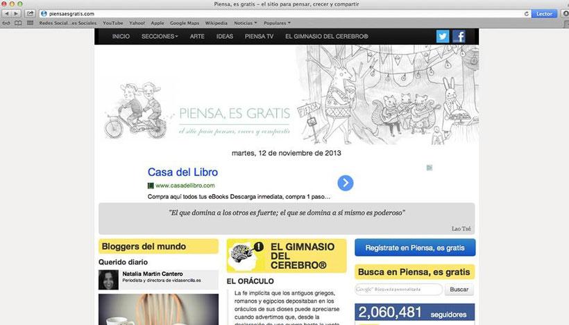 """Entrevista portal """"Piensa, es gratis"""" 12 noviembre 2013"""