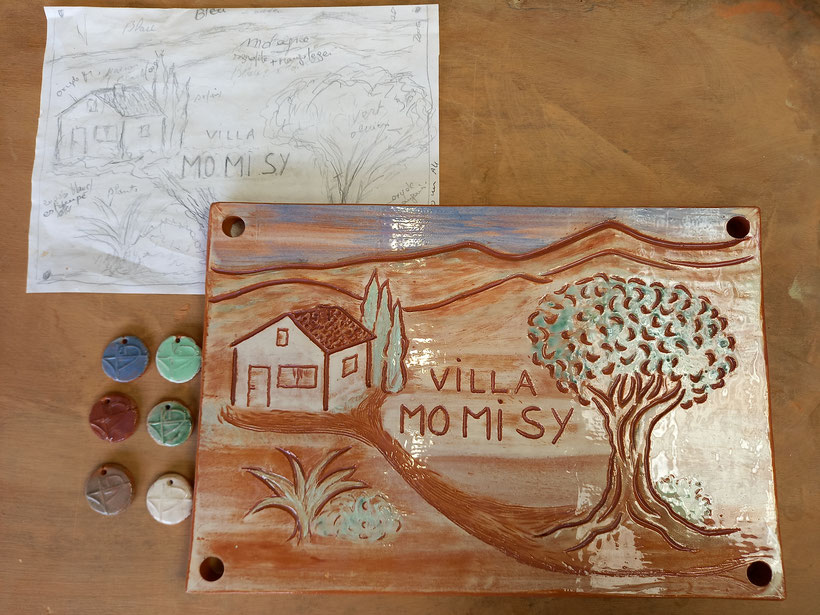 plaque de villa en céramique