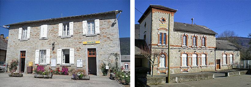 De gauche à droite : l'actuelle Mairie et l'actuelle école.