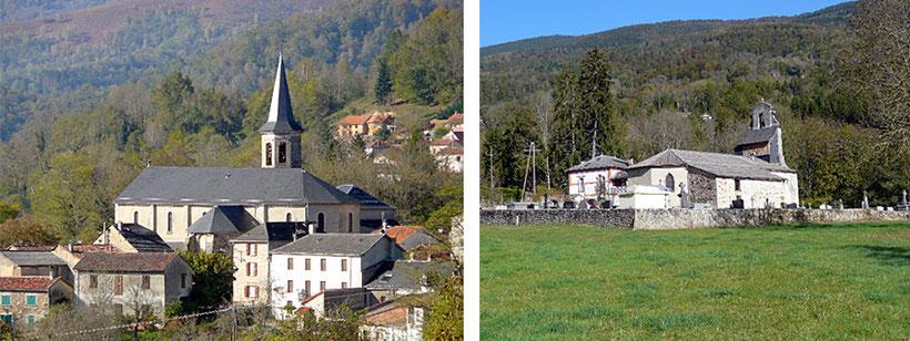 De gauche à droite : Eglise de Saint Pierre et de Buleix.
