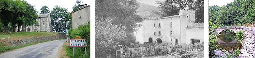 De gauche à droite : La chapelle de Notre-Dame de Serres, l'ancien château du Pontaud  (aujourd'hui en ruine) et le pont du Pontaud.