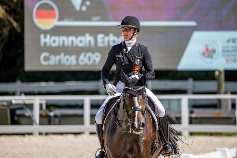 Dressage Newcomer Carlos FRH and Hannah Erbe at the U25 European Championships in Pilisjászfalu/HUN (Photo: Stefan Lafrentz).