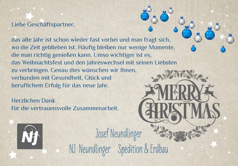 Weihnachtsgruß 2018 Josef Neundlinger Spedition Erdbau Oberkappel (Bezirk Rohrbach)