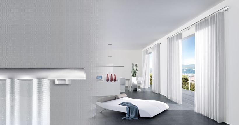 Interstil Wellenvorhang W1 in Langenselbold bei Lamellen Junker, moderne Vorhänge und Gardinen, Wellenvorhang -Beratung im Showroom und bei Ihnen zu Hause
