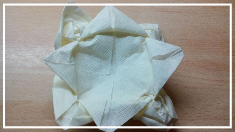 Tischdekoration Servietten falten Seerose. Deko leicht und einfach DIY Stern Servietten falten für Anfänger. Anleitung Blume als Rose.
