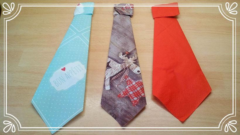 Servietten falten Krawatte