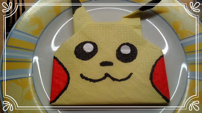 Servietten falten Pokemon Pikachu