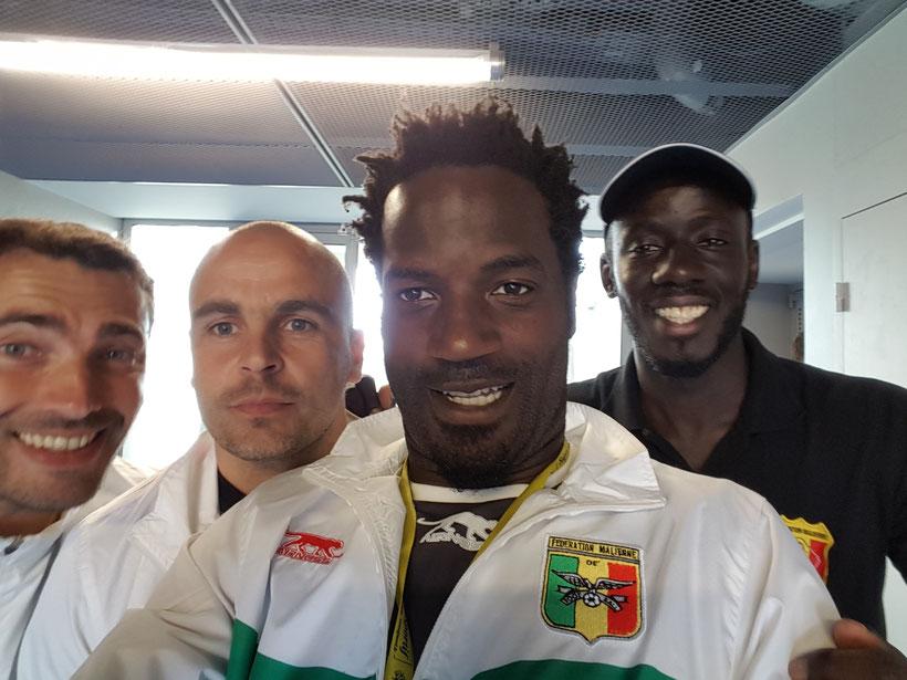 Equipe technique de l'équipe Espoir du mali avec Fousseni Diawara et Jeremy Janot de Saint-Etienne
