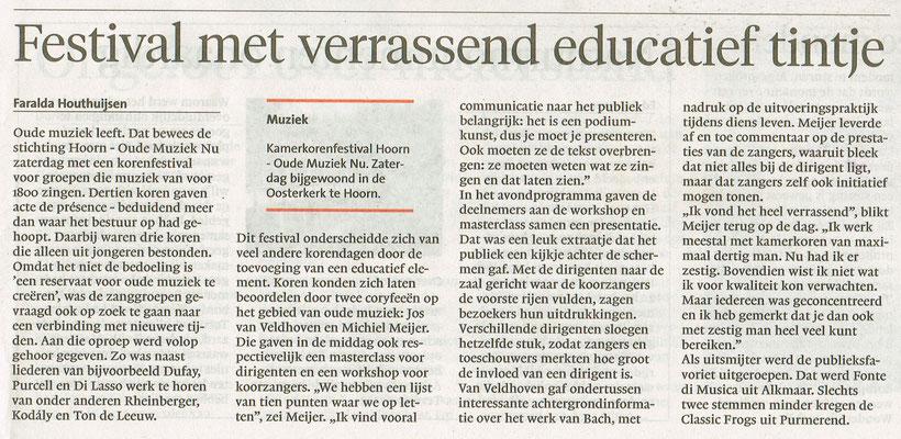 Recensie in het Noord-Hollands Dagblad editie 'Dagblad voor Westfriesland' van 6 juni 2017