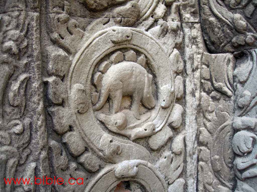 Stegosaurus in Ta Prohm Tempel