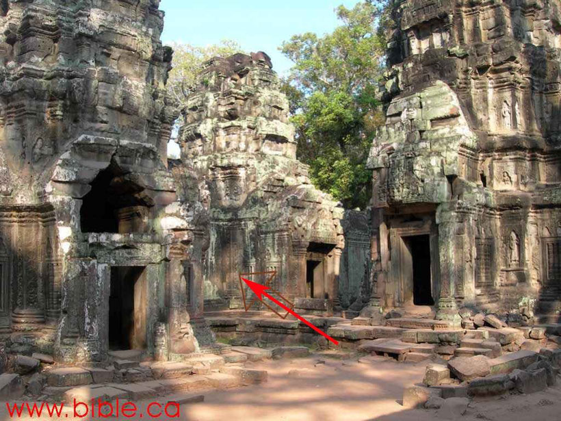 Säule mit Tiere in Ta Prohm Tempel