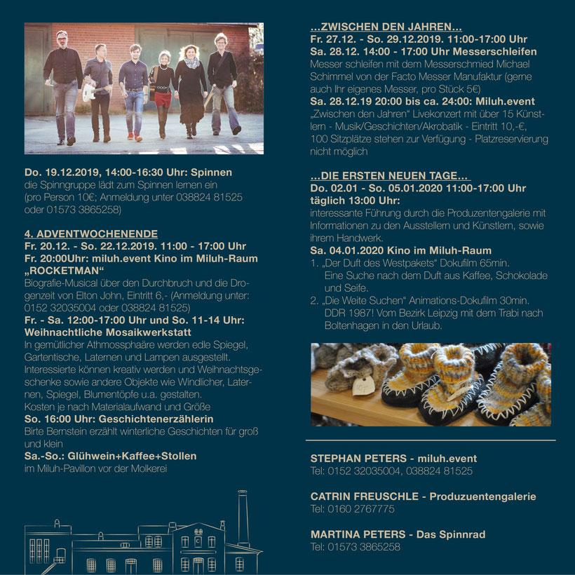 Weihnachten und Winterzeit Programm Alte Molkerei Klütz