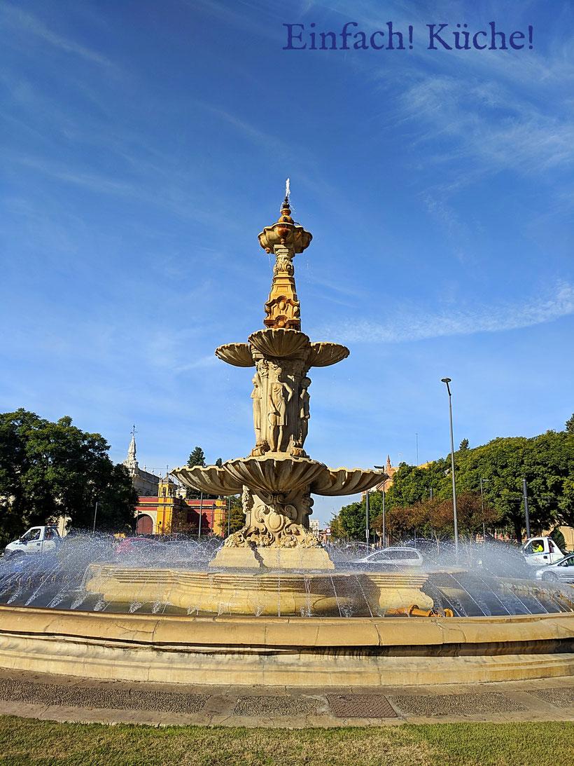 Ein Brunnen in Sevilla, Andalusien, Spanien