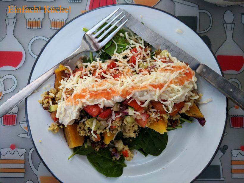 Einfach! Küche! lecker Essen - lecker Campingküche - Süsskartoffel Kumpir mit Bulgur und FrischkäseDip