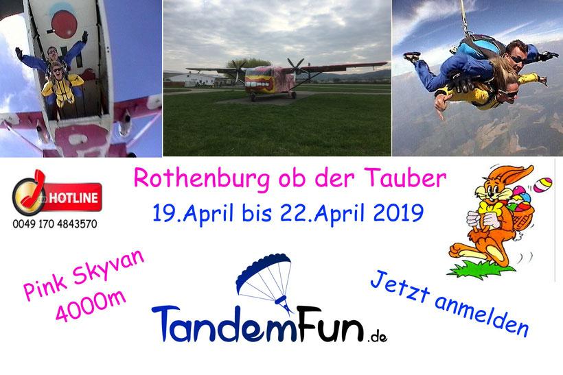 Fallschirmsprung Tandemsprung Rothenburg ob der Tauber mit Tandemfun.