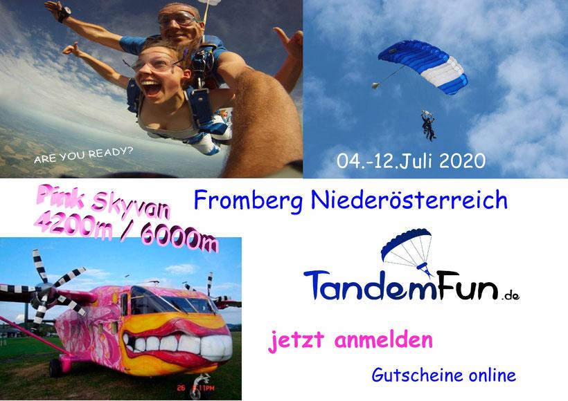 Komm zum Fallschirmspringen nach Fromberg Niederösterreich. Jetzt anmelden zum Tandemsprung überm Waldviertel