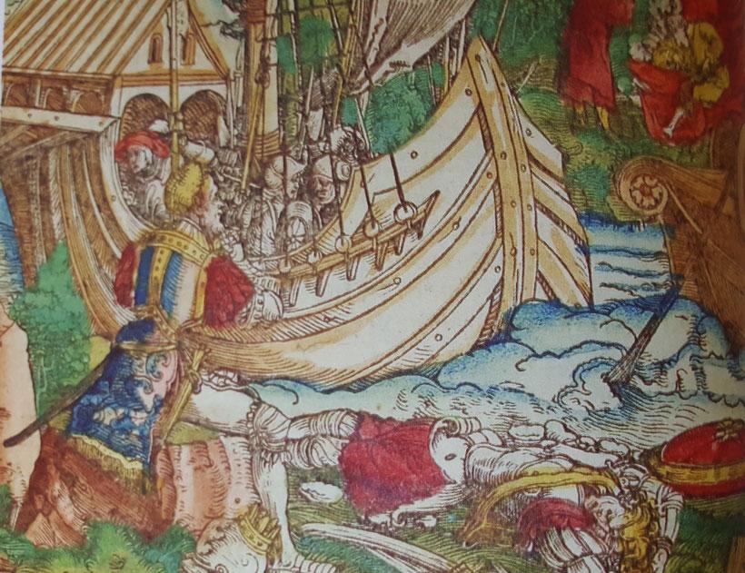 Schlacht an der Küste, Farbdruck, 16. Jh. Sammlung Rainer Daehnhardt, Belas.