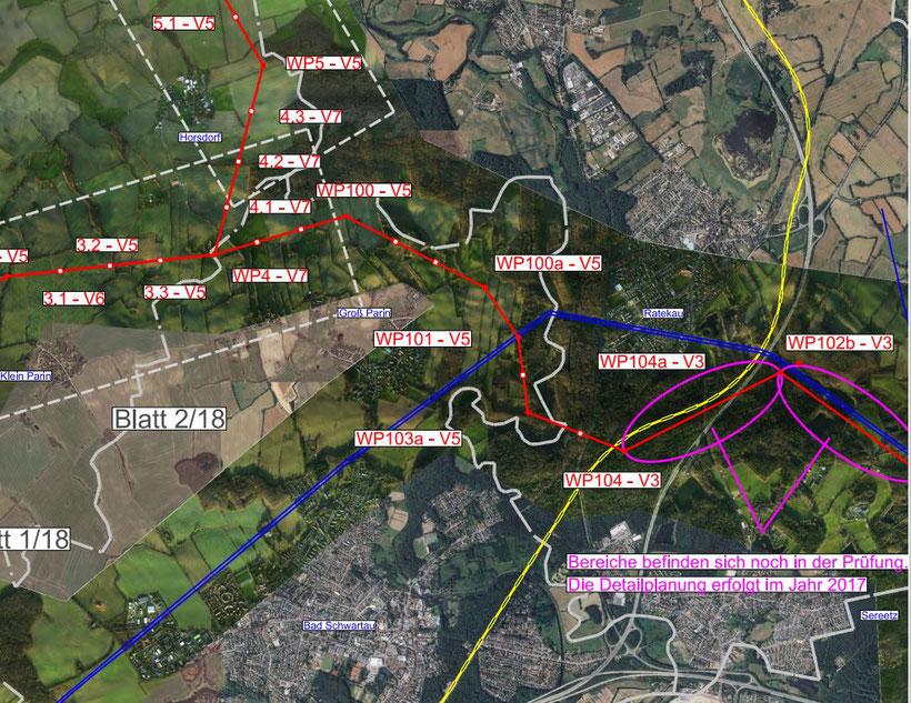 Die rote Linie stellt den geplanten Trassenverlauf dar, die blaue Linie die bestehende 110kV-Trasse (Quelle: SAG / TenneT)