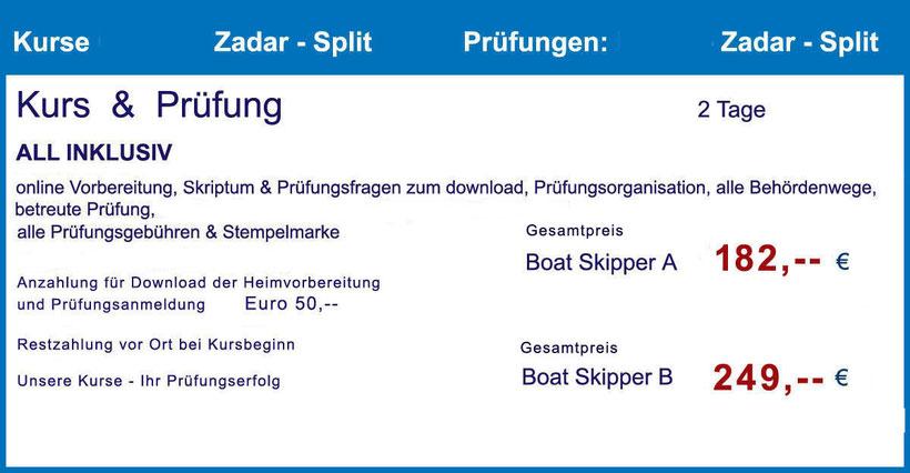 kroatisches küstenpatent boat skipper kurs prüfung hafenamt split dalmatien kroatien