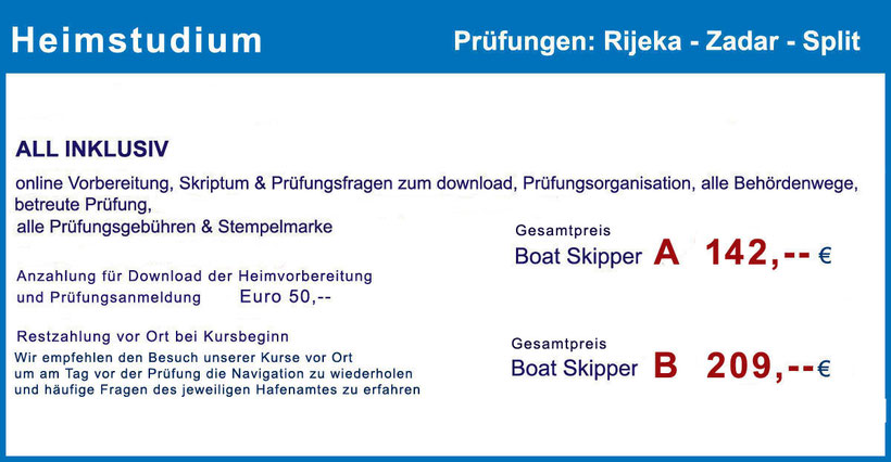 Küstenpatent Boat Skipper A und B, Fernstudium, Selbststudium, Heimstudium, organisierte, deutschsprachig betreuten Prüfung, Hafenamt Rijeka