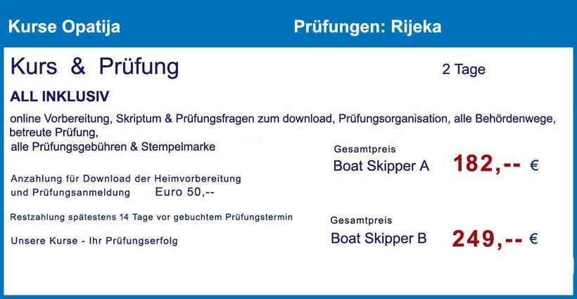 Küstenpatent Boat Skipper Prüfung im Hafenamt Rijeka, Abendkurs Kurs in Opatija oder Rijeka