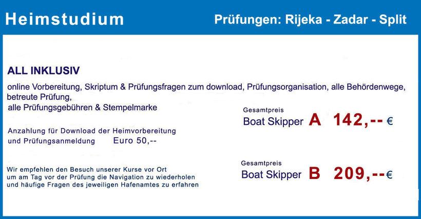 Küstenpatent Boat Skipper Prüfung im Hafenamt Rijeka, Zadar und Split