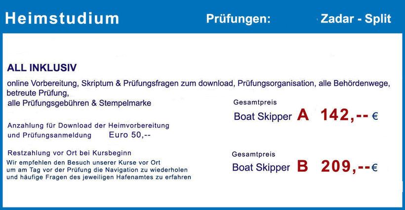 Küstenpatent Boat Skipper A und B, Fernstudium, Selbststudium, Heimstudium, organisierte, deutschsprachig betreuten Prüfung, Hafenamt Zadar