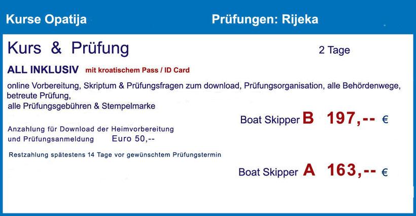 küstenpatent prüfung rijeka kurs opatija ermässigter preis ermässigte prüfungsgebühr kroatische staatsbürger kroatischer pass personalausweis