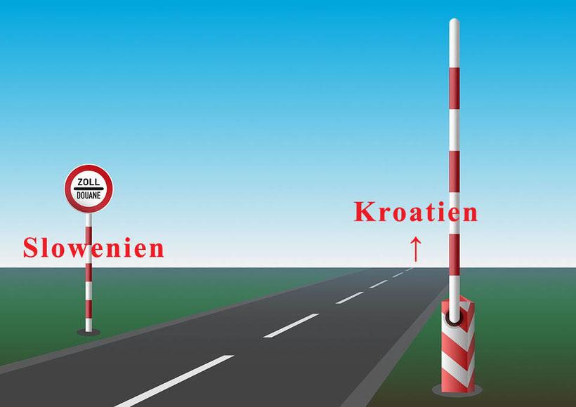 Achtung - Ausreise von Slowenien nach Kroatien über Grenzübergang Gruskovje/Macelj - E 59