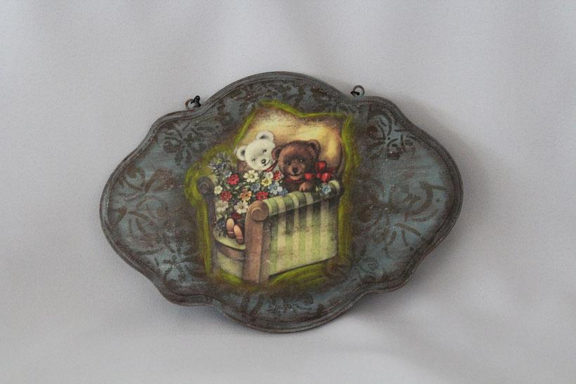 """Decoupage Schild """"Bei Teddy daheim"""" Decoupage Dekor-Schild Vintage Weihnachten"""