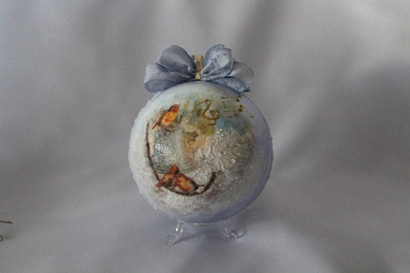 "Decoupage Kugel ""Vögel im Schnee"" Decoupage Dekor-Kugel Vintage Weihnachten"