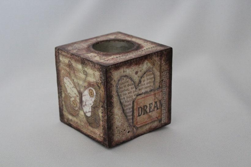 """Decoupage Kerzenhalter """"Dream"""" Vintage Weihnachten"""