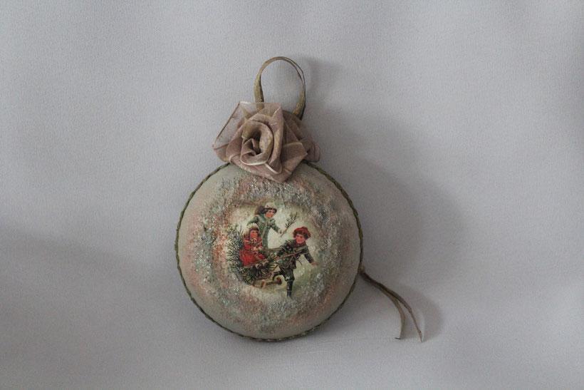 """Decoupage Medallion """"Fröhliche Schlittenfahrt"""" Decoupage Dekor-Medallion Vintage Weihnachten"""