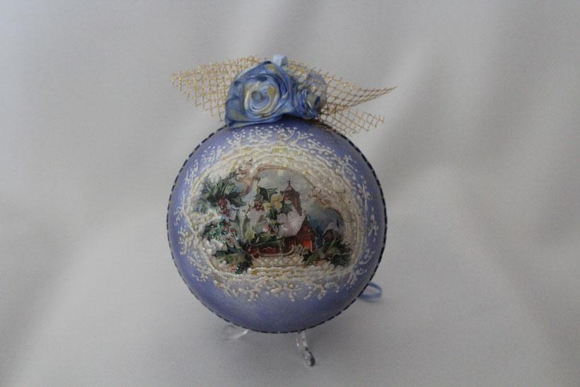"Decoupage Kugel ""Blau"" Decoupage Dekor-Kugel Vintage Weihnachten"