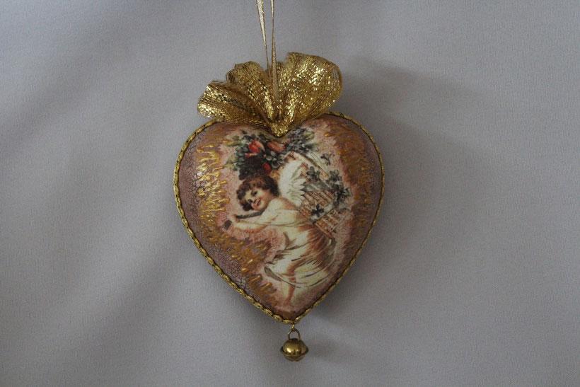 """Decoupage Herz """"Cupid"""" Decoupage Dekor-Herz Vintage Weihnachten"""