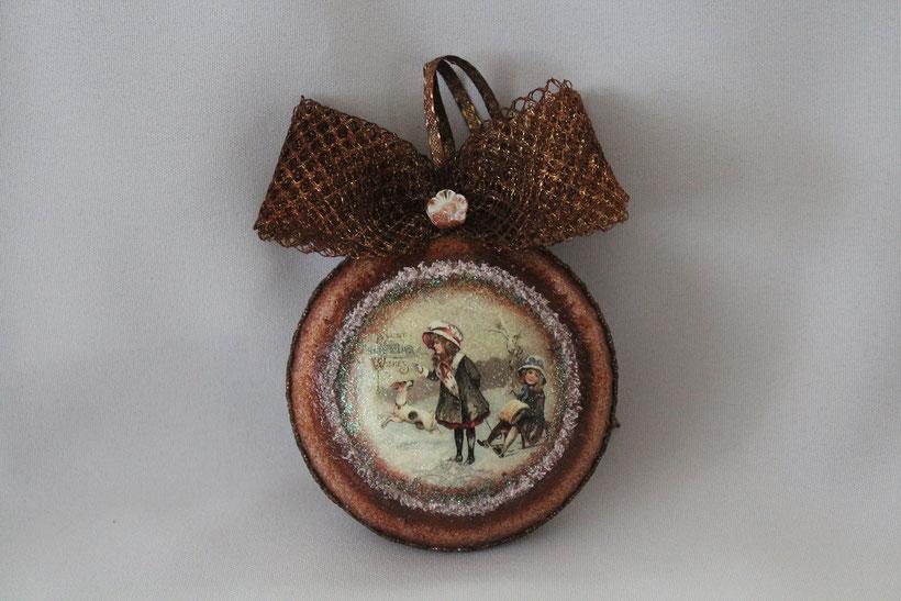 """Decoupage Medallion """"Christmas"""" Decoupage Dekor-Medallion Vintage Weihnachten"""