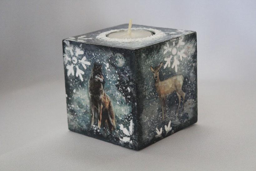 """Decoupage Kerzenhalter """"Winter"""" Vintage Weihnachten"""