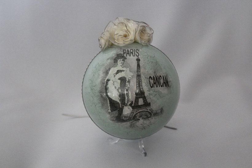 "Decoupage Kugel ""Paris"" Decoupage Dekor-Kugel Vintage Weihnachten"