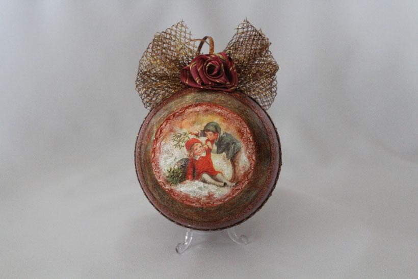 """Decoupage Kugel """"Mistelzweig"""" Decoupage Dekokugel Vintage Weihnachten"""
