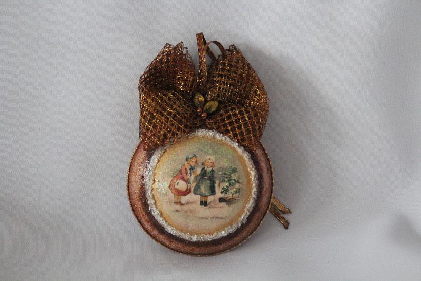"""Decoupage Medallion """"Winter Spaziergang"""" Decoupage Dekor-Medallion Vintage Weihnachten"""