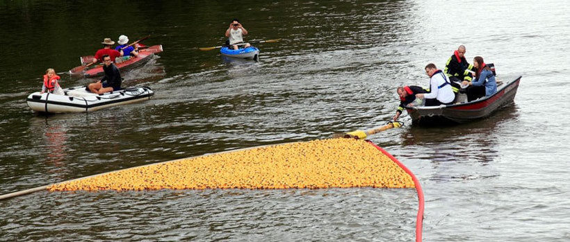 Leipziger Entenrennen im Elsterflutbett