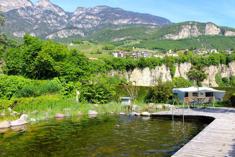 Naturbadeteich Camping Obstgarten, Kurtatsch OT Breitbach