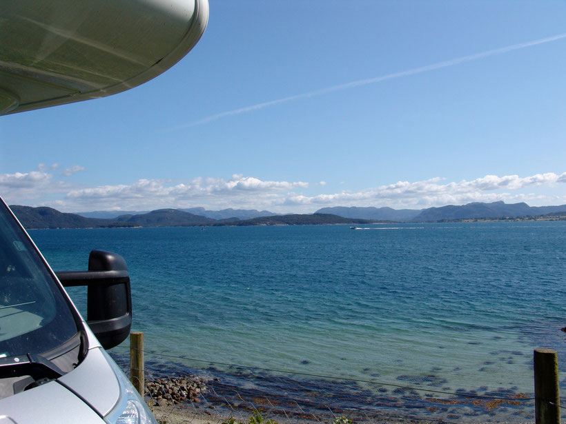 Unser Übernachtungsplatz mit Blick auf das Idsefjord