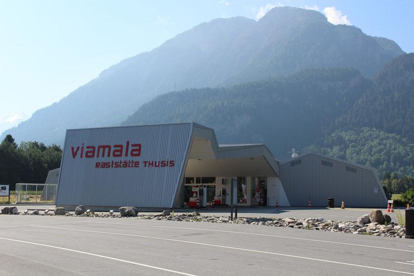 Rastplatz Viamala, Graubünden. Kaffeepause in der Schweiz, liebevoll und kostengünstig gebrüht in der Villa