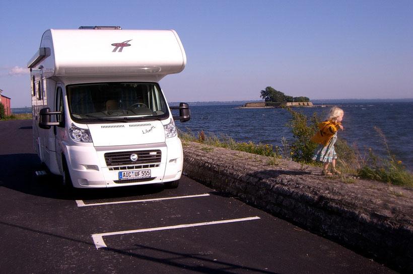 Unser Stellplatz für die Nach am Hafen in Kalmar