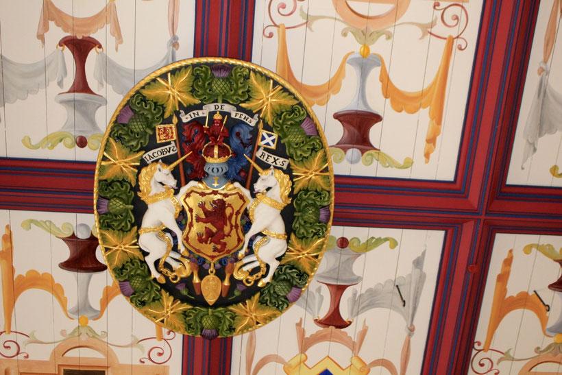Decke im Stirling Caslte. Das Einhorn ist auf Gemälden oft zu finden
